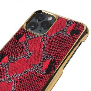 bulk custom iphone case in genuine cowhide leather- animal print fashion for women - red snake skin