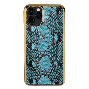 bulk custom iphone case in genuine cowhide leather- animal print - blue