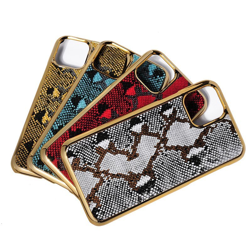 bulk custom iphone case in genuine cowhide leather- animal print -snake skin