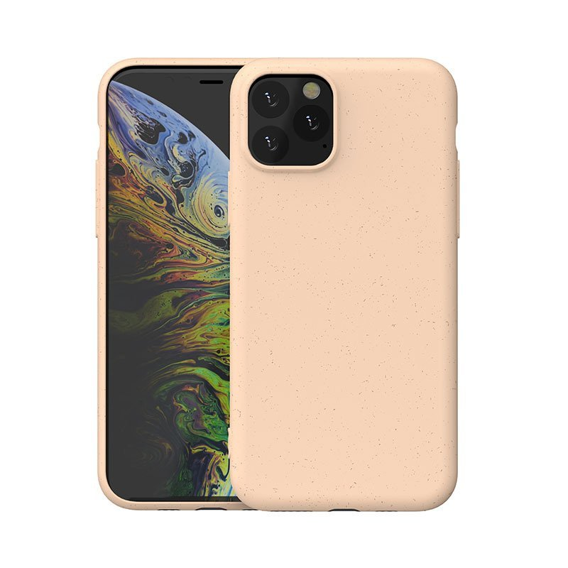 pastel orange color biodegradable cell phone covers with straw fiber, wholesale bulk custom