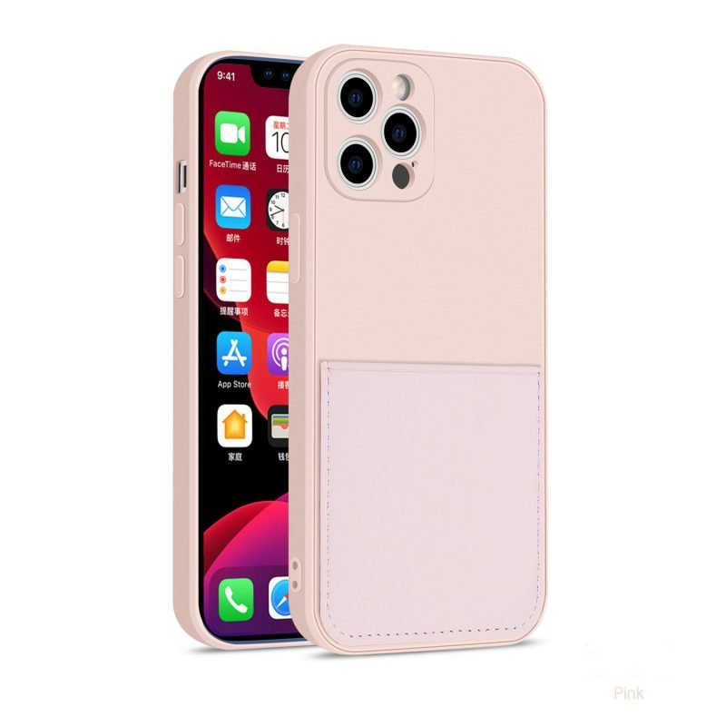 faux liquid silicone iphone case with wallet in baby pink - bulk wholesale supplier, vendor