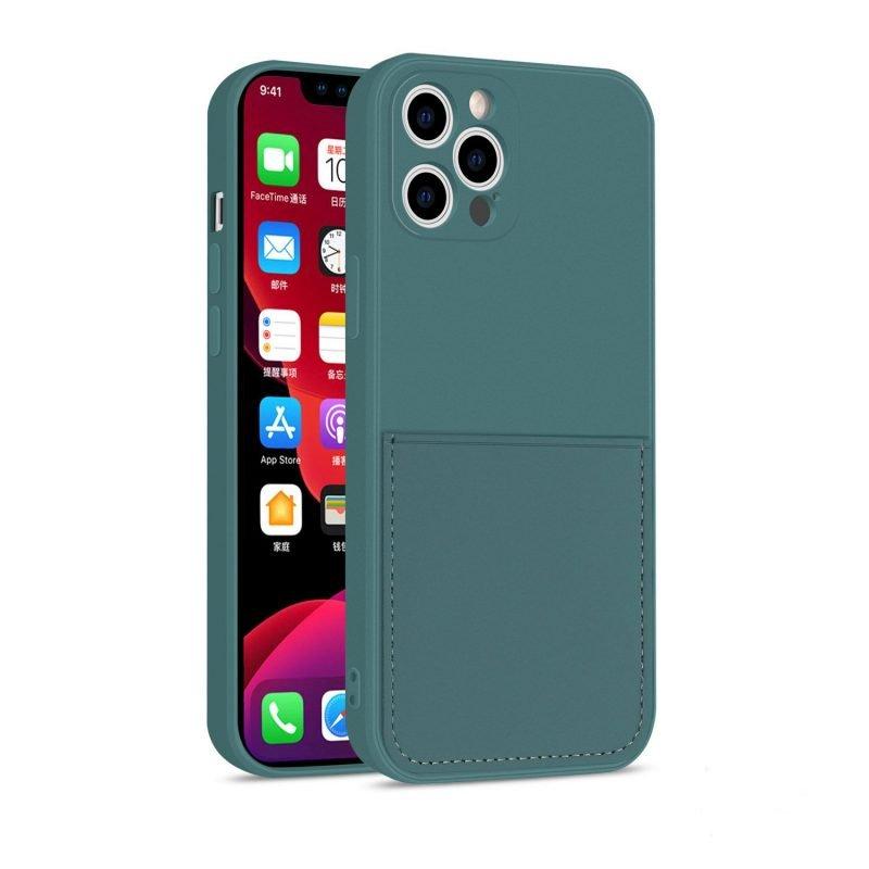 faux liquid silicone iphone case with wallet -dark green, wholesale vendor, us