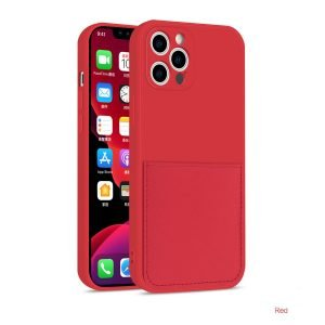 faux liquid silicone iphone case with wallet -red wholesale supplier, factory, lovingcase