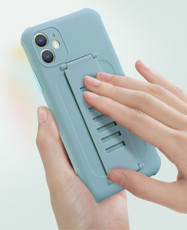 faux silicone case with grip band - blue wholesale supplier, vendor