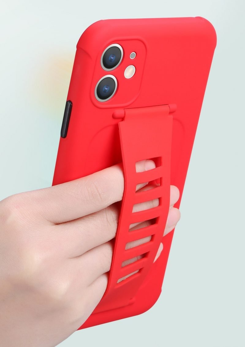 faux silicone case with grip band - red wholesale supplier custom manufacturer