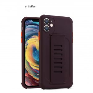 faux silicone case with grip band - coffee, bulk wholesale custom supplier, lovingcase