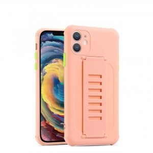pink faux silicone case with grip band - wholesale vendor, us
