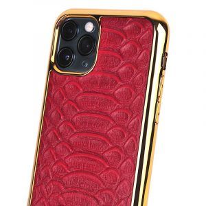 red real leather iphone 12 case in crocodile pattern, wholesale bulk supplier