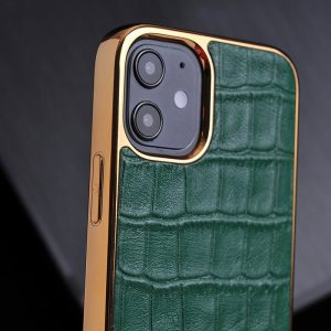 green iphone leather case with gold bumper, lovingcase