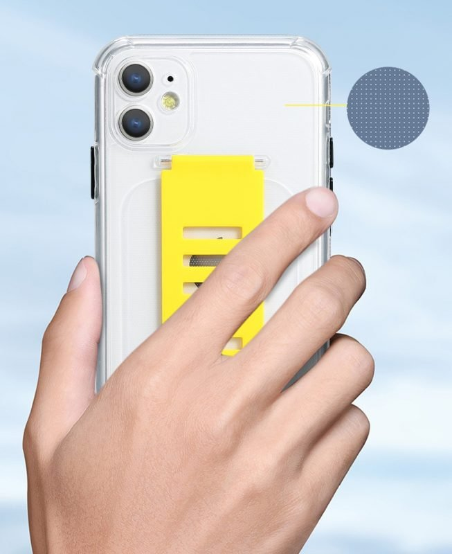 ultra impact clear case with grip band holder -color block- wholesale supplier