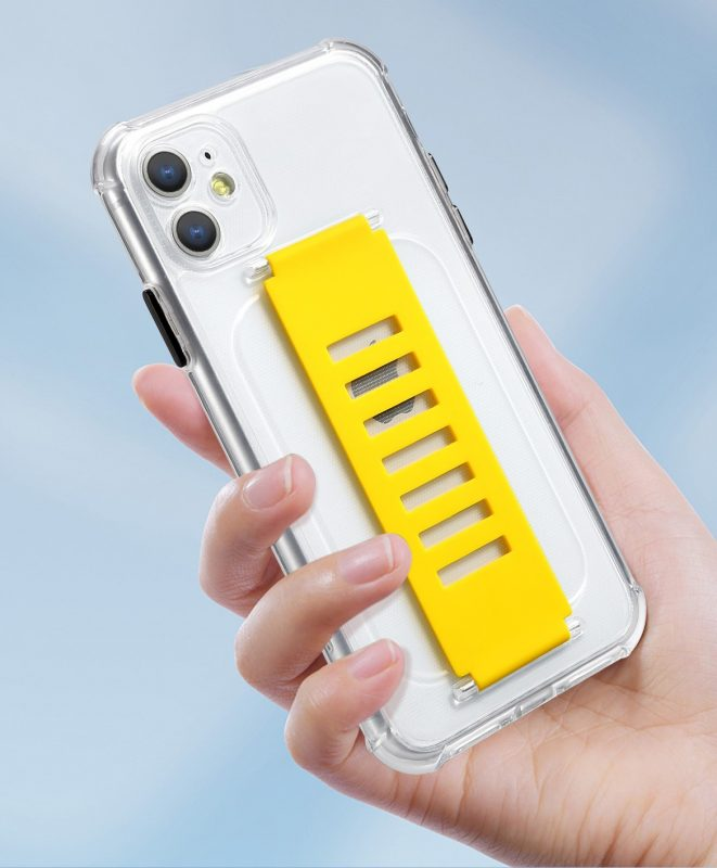 LOVINGCASE wholesale ultra impact clear case with grip band holder - yellow