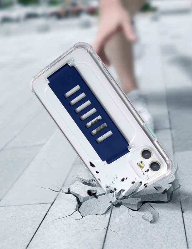 ultra impact clear case with grip band holder - shockproof, wholesale supplier, lovingcase