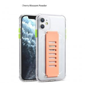 ultra impact clear case with grip band holder - color block, wholesale bulk, lovingcase