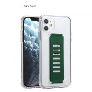bulk wholesale and custom ultra impact clear case with grip band holder - dark green