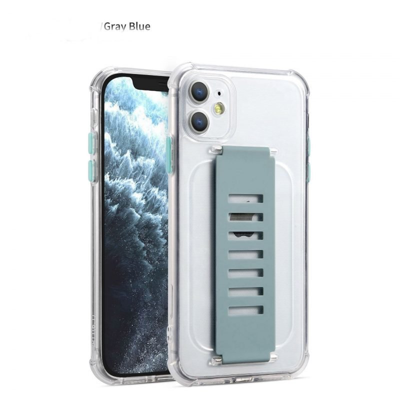 lovingcase wholesale ultra impact clear case with grip band holder - grey blue