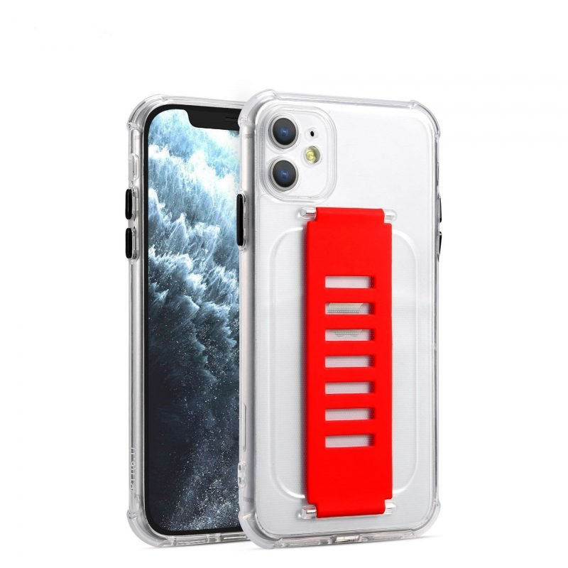 ultra impact clear case with grip band holder -red strap, bulk wholesale