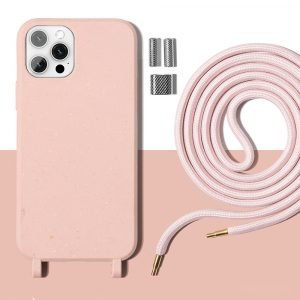 plant-based iphone cases, compostable - necklace lanyard pink - lovingcase wholesale