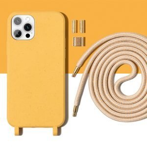 ompostable-iphone-covers-with-necklace-rope-lanyard---lemon- iphone covers ecofriendly - lemon
