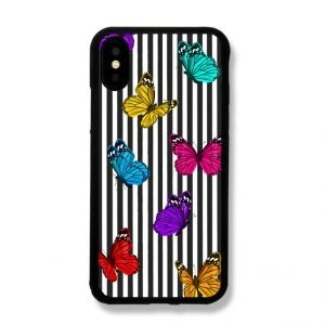 sublimation iphone case with black stripes and butterfly - lovingcase wholesale