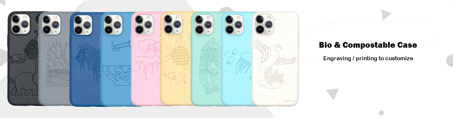 compostable phone covers with engraved pattern