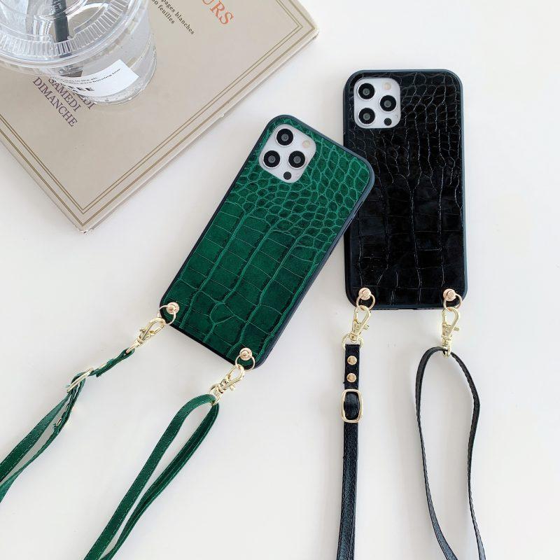 black faux leather with croc pattern iphone case fashion - bulk wholesale- lovingcase manufacturer with lanyard
