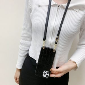crossbody iphone case in faux pu leather - black - lovingcase manufacturer wholesale