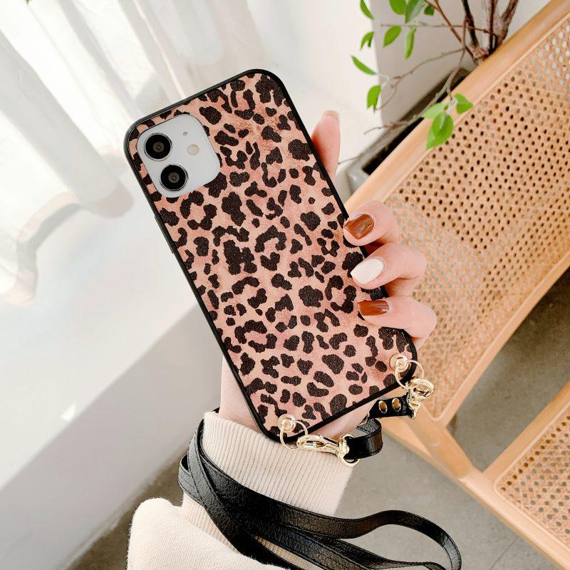 leopard iphone covers fashion - crossbody strap lanyard - summer- wholesale custom