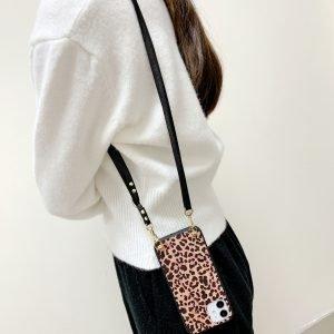 leopard iphone case with lanyard crossbody strap - wholesale bulk