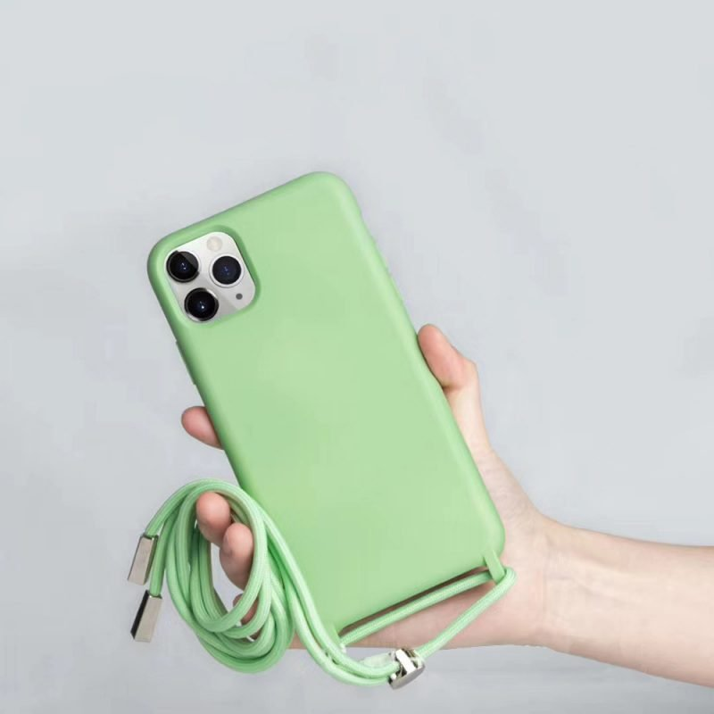 wholesale silicone iphone case with lanyard - apple green - lovingcase