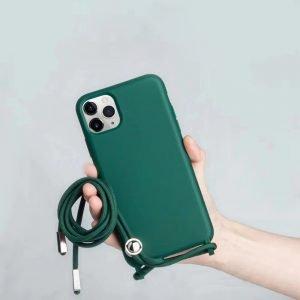 wholesale silicone iphone case with lanyard - dark green - lovingcase
