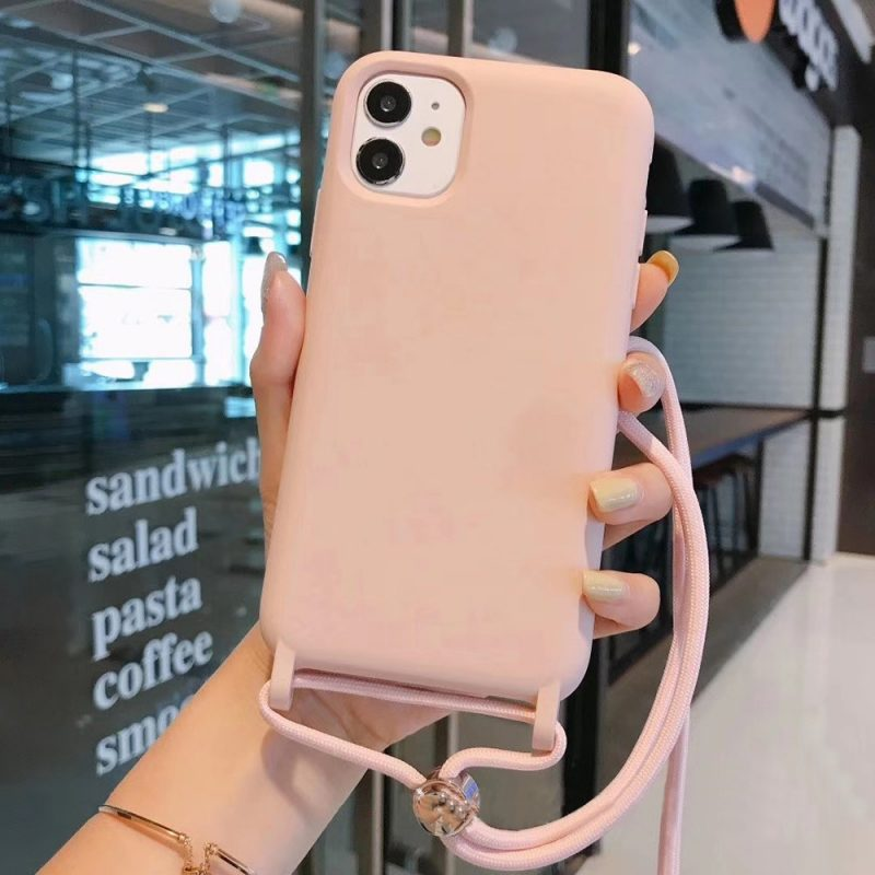 wholesale silicone iphone case with lanyard - pink - lovingcase