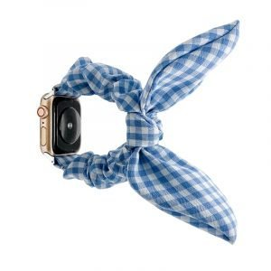 bulk buy scrunchie apple watch bands - buffalo check - blue- lovingcase wholesale