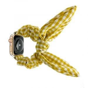 bulk buy scrunchie apple watch bands - buffalo check - yellow- lovingcase wholesale