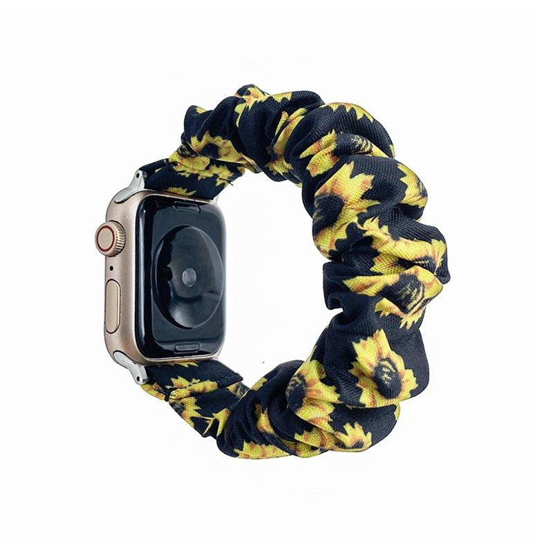 bulk buy scrunchie apple watch bands floral sunflower- black white daisy