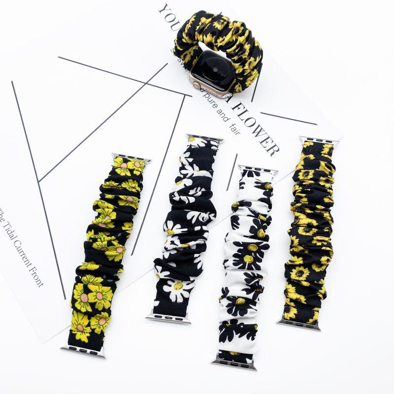bulk buy scrunchie apple watch bands floral sunflower- lovingcase wholesale