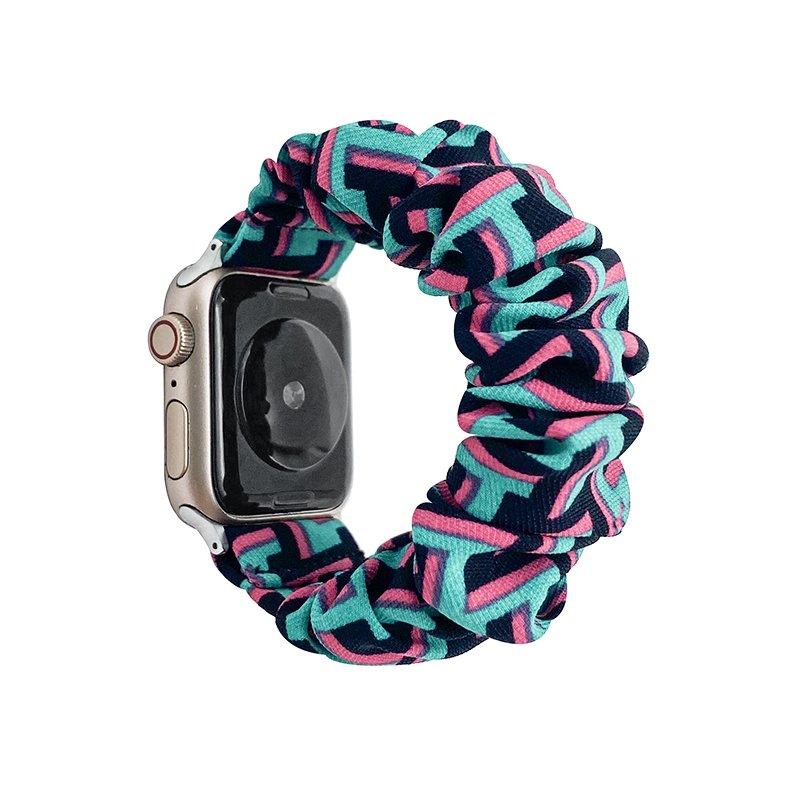 bulk buy wholesale scrunchie apple watch bands-geometry art print- blue and pink