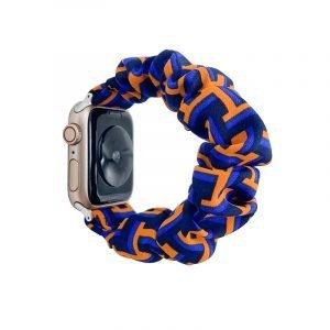 bulk buy wholesale scrunchie apple watch bands-geometry art print- orange and royal blue