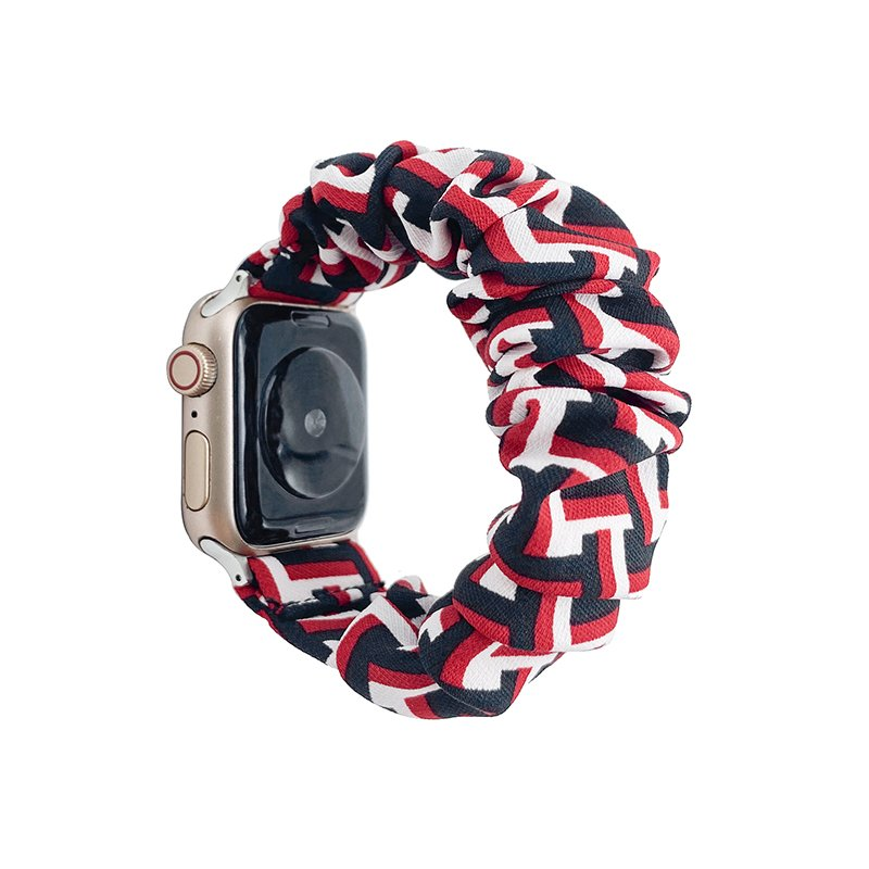 bulk buy wholesale scrunchie apple watch bands-geometry art print- red and black