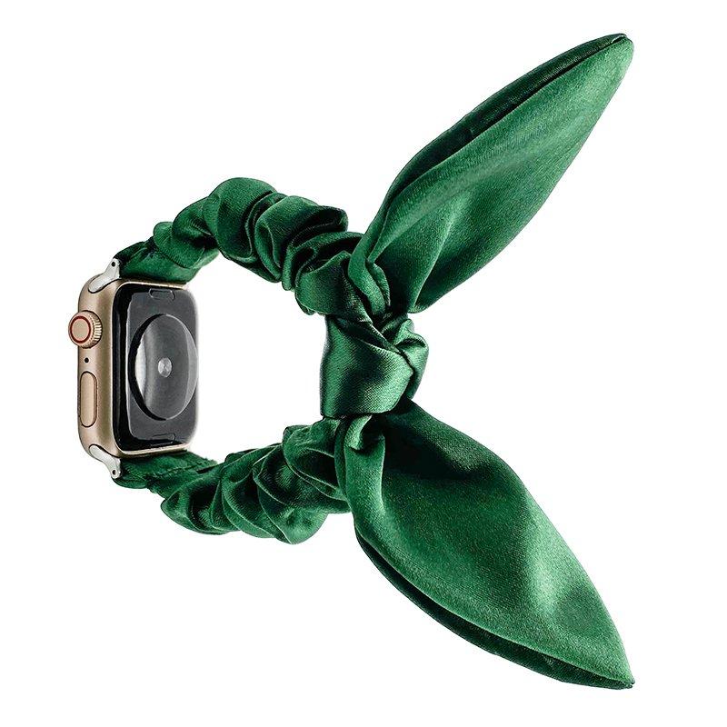 bulk buy wholesale scrunchie apple watch bands-satin bunny ear-green