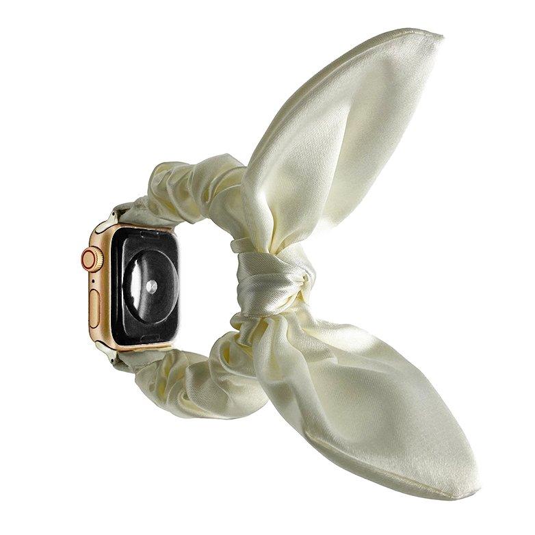 bulk buy wholesale scrunchie apple watch bands-satin bunny ear- light ivory