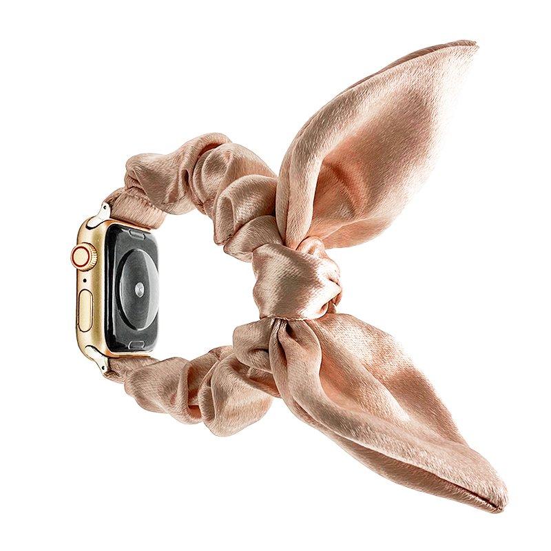 bulk buy wholesale scrunchie apple watch bands-satin bunny ear pink