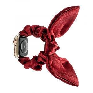 bulk buy wholesale scrunchie apple watch bands-satin bunny ear-red