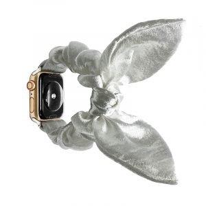 bulk buy wholesale scrunchie apple watch bands-satin bunny ear-snowwhite