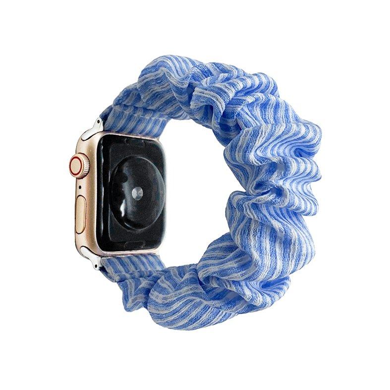 bulk buy wholesale scrunchie apple watch bands-stripes blue