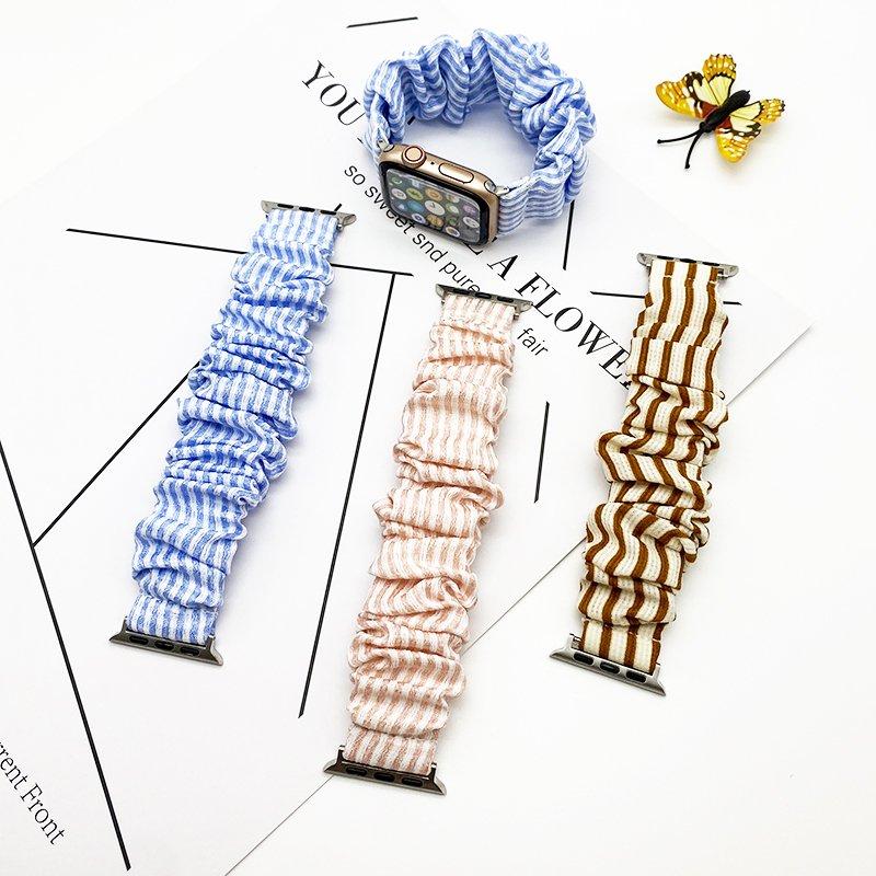 bulk buy wholesale scrunchie apple watch bands-stripes pink