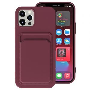 faux silicone iphone case with card holder - purple - lovingcase wholesale