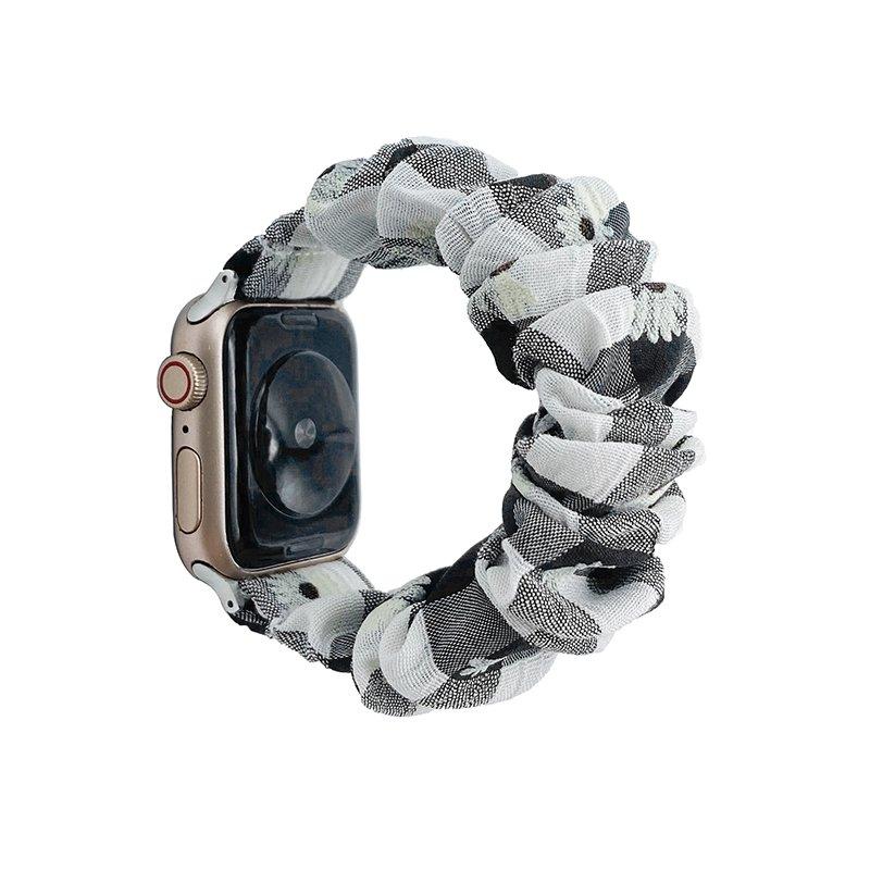 bulk wholesale scrunchie apple watch band bulk wholesale - daisy-black white