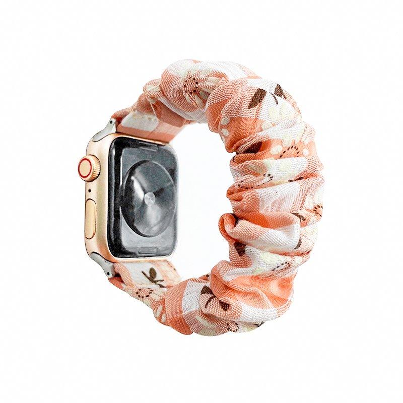 factory scrunchie apple watch band bulk wholesale - daisy pink