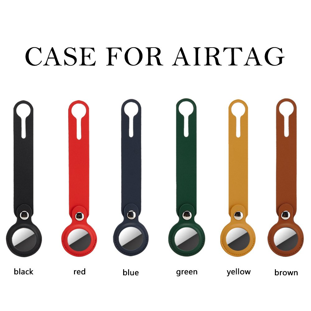 lovingcase bulk wholesale airtag faux leather case with loop - 6 colors
