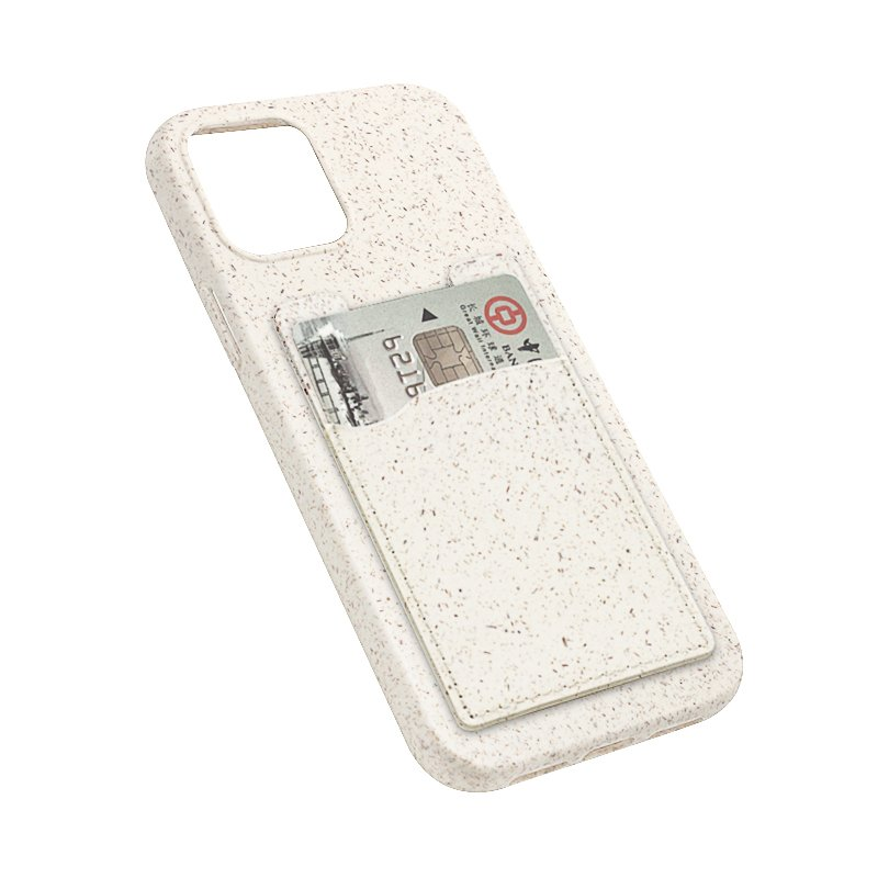 compostable phone case card holder for bulk wholesale custom, by lovingcase, beiege